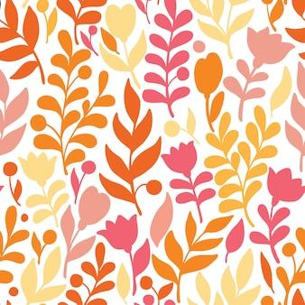 Kwiecisty wzór w doodle stylu z kwiatami i liśćmi