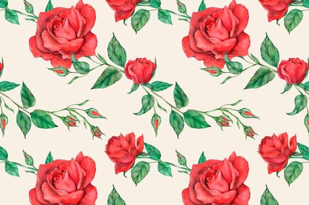 Kwitnąca czerwona róża tło wektor wzór