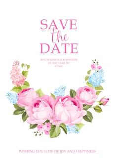 Kwitnąca gałąź róży, aby zapisać kartę daty.