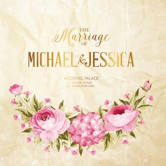 Kwitnąca róża i hortensja ślubna karta ramki.
