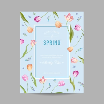 Kwitnąca Wiosna I Lato Karta Kwiatowy Wzór Premium Wektorów