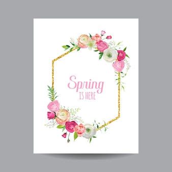 Kwitnąca wiosna i lato kwiatowy rama z obramowaniem złoty brokat. kwiaty akwarelowe róże na zaproszenie, wesele, karta baby shower w wektorze