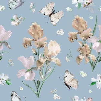 Kwitnąca wiosna kolorowe irysowe kwiaty i motyle tło wzór. bezszwowy druk mody w wektorze