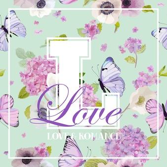 Kwitnące kwiaty hortensji i latające motyle projekt koszulki w stylu akwareli. piękno w naturze. tło dla tkaniny, tkaniny, druku