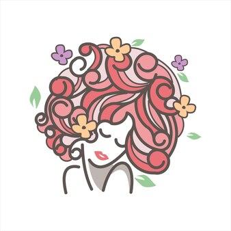Kwitnące kwiaty kręcone włosy dziewczyna maskotka