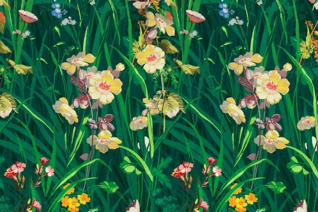 Kwitnące kwiaty wektor zielone tło w stylu vintage