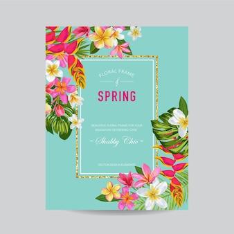 Kwitnące lato kwiatowy rama, plakat, baner. karta tropikalnych kwiatów na zaproszenie, pozdrowienia, ślub, chrzciny. ilustracja wektorowa