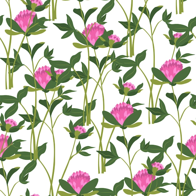 Kwitnące polne kwiaty, kwitnąca i kwitnąca flora ze stajniami i liśćmi. zieleń i liście roślin i kwiatów. wzór lub tło, druk lub tapeta. wektor w stylu płaskiej