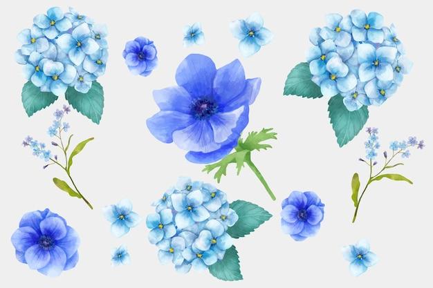 Kwitnące różowe kwiaty zestaw akwareli