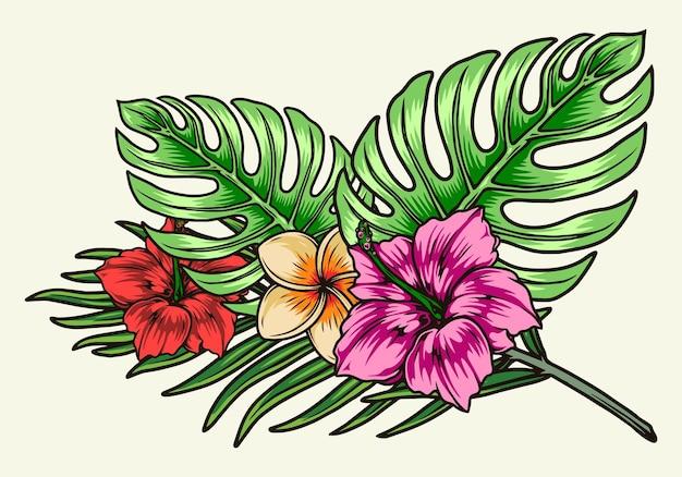 Kwitnące tropikalne kwiaty i liście w stylu vintage na białym tle