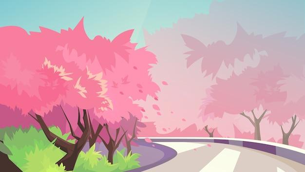 Kwitnące wiśnie wzdłuż drogi. piękny krajobraz przyrody.