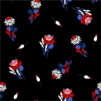 Kwitnący abstrakcjonistyczny bezszwowy wzór protea kwieciści i rośliny. elementy dekoracyjne. losowy projekt powtórzeń dla tkaniny mody, tapety