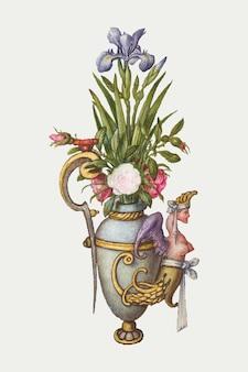 Kwitnący irysowy kwiat w wazonie vintage