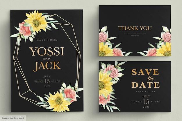 Kwitnący kwiatowy wiosną zestaw kart zaproszenie