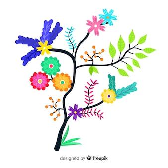 Kwitnący płaski kolorowy gałąź