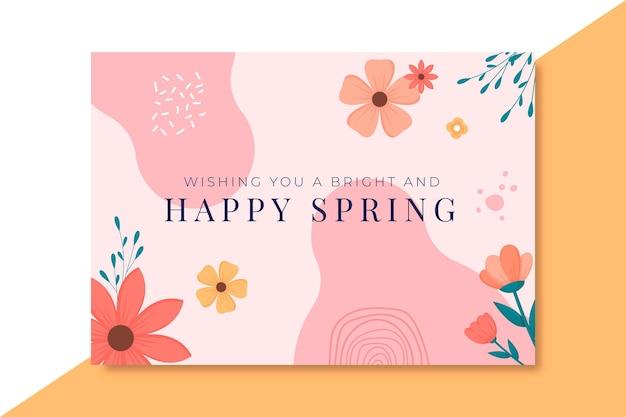 Kwitnący ręcznie rysowane szablon karty wiosna