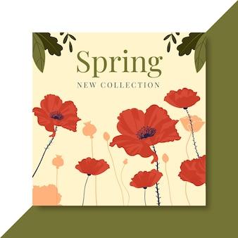Kwitnący ręcznie rysowane wiosenny szablon postu na facebooku