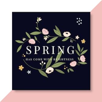 Kwitnący ręcznie rysowane wiosenny szablon postu na instagramie