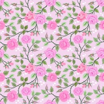 Kwitnący różowa róża kwitnie bezszwowego wzór