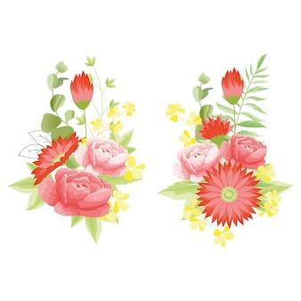 Kwitnie czerwoną piwonią i bukietami stokrotek z zielenią