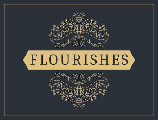 Kwitnie kaligraficzne tło ozdobnych. wektor luksusowe zaproszenie, menu restauracji lub certyfikat honorarium. złoty kwiecisty strona z elementami swirls i winiet.