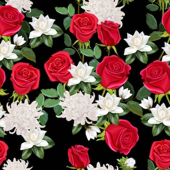 Kwitnie piękny bukiet z czerwonych róż, chryzantemy i magnolii bezszwowej deseniowej ilustraci