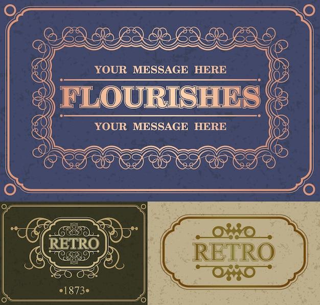 Kwitnie ramka ozdobna i marka retro. vintage ornament szablon karty z pozdrowieniami. zaproszenie na ślub retro, reklama lub inny projekt i miejsce na tekst