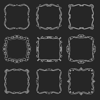 Kwitnie zestaw ramek kwadratowych. elementy kaligraficzne. etykiety retro z monogramem. białe na czarnym, ilustracja.