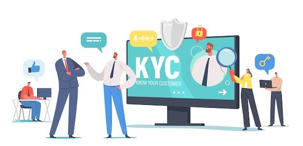 Kyc, know your customer concept, biznesowa weryfikacja tożsamości klientów i ocena ich przydatności, małe biznesmenki uczące się profilu klienta. ilustracja wektorowa kreskówka ludzie