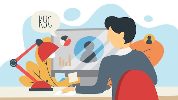 Kyc lub poznaj koncepcję klienta. idea identyfikacji biznesu i bezpieczeństwa finansów. mężczyzna pracujący na komputerze przenośnym. cyberprzestępczość. ilustracja