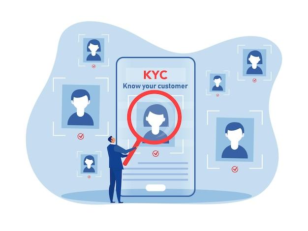 Kyc lub poznaj swojego klienta z biznesem weryfikując tożsamość koncepcji swoich klientów u przyszłych partnerów za pomocą ilustratora wektorów ze szkła powiększającego
