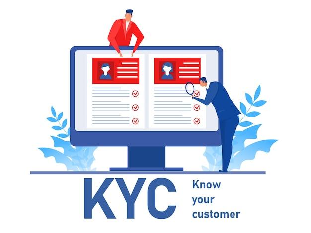 Kyc lub poznaj swojego klienta z biznesem weryfikującym tożsamość jego koncepcji klientów