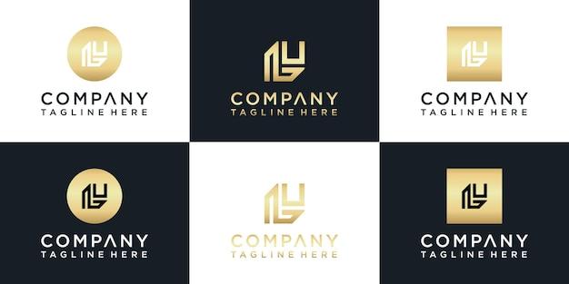 L monogram logo złoto