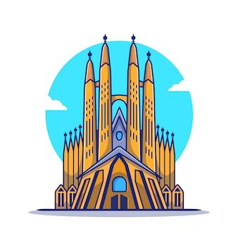 La sagrada familia ikona ilustracja kreskówka. słynny budynek podróży ikona koncepcja na białym tle. płaski styl kreskówki