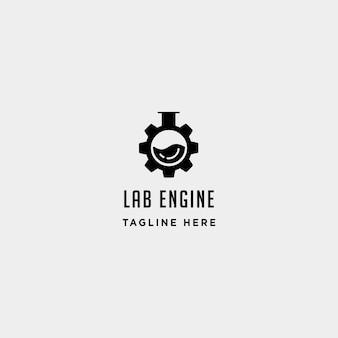 Lab gear logo wektor laboratorium przemysł ikona symbol znak ilustracja na białym tle