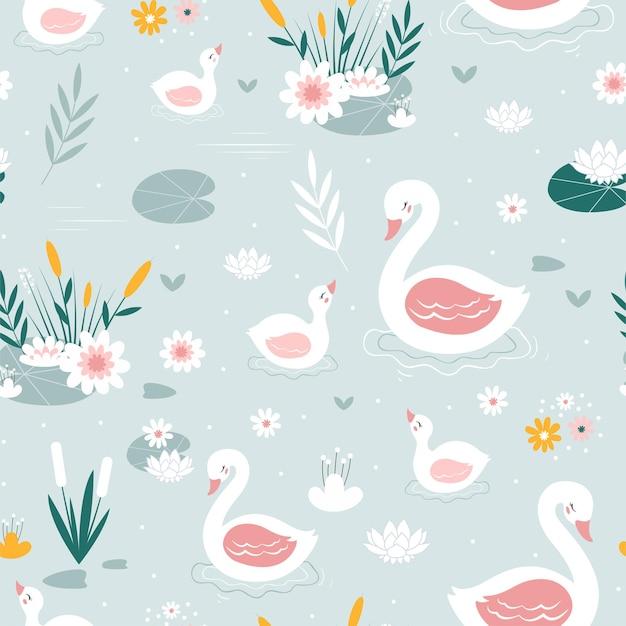 Łabędź bez szwu wzór nadruku projekt ilustracji wektorowych dla modnych tkanin tekstylnych