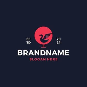 Łabędź sylwetka ilustracja projektu logo