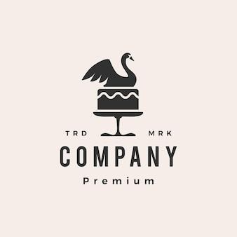 Łabędź tort ślubny hipster vintage logo