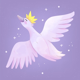 Łabędzi styl księżniczki z koroną
