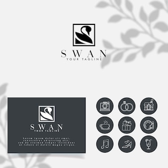 Łabędzie minimalistyczne logo łabędź do edycji