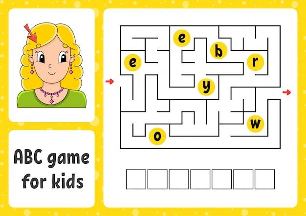 Labirynt abc dla dzieci. odpowiedz brwi. prostokątny labirynt. arkusz aktywności.