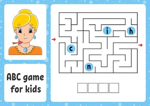 Labirynt abc dla dzieci. odpowiedz podbródek. prostokątny labirynt. arkusz aktywności.
