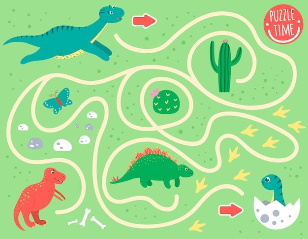 Labirynt dla dzieci. aktywność przedszkolna z dinozaurami. gra logiczna z diplodocus, t-rex, baby dino. słodkie śmieszne uśmiechnięte postacie.