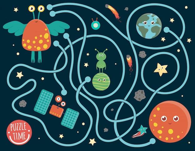 Labirynt dla dzieci. aktywność w przestrzeni przedszkolnej. gra logiczna z kosmitą, ziemią, planetą, gwiazdą. słodkie śmieszne uśmiechnięte postacie