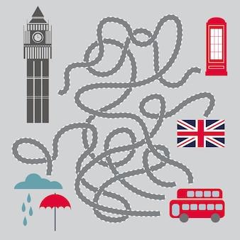 Labirynt dla dzieci z symbolami londynu - ilustracja wektorowa