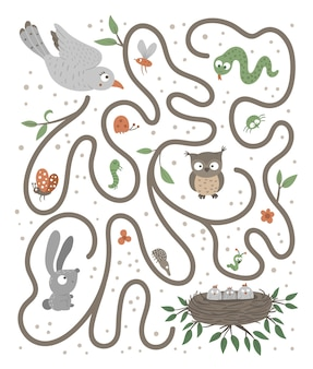 Labirynt dla dzieci. zajęcia przedszkolne z ptakiem lecącym do swoich dzieci.