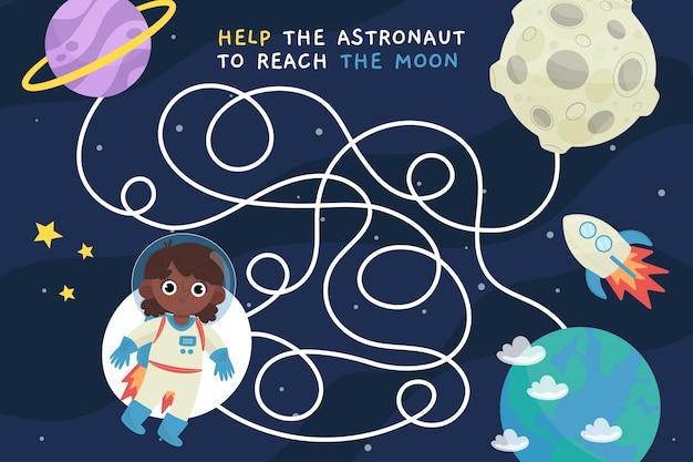 Labirynt dla motywu kosmicznego dla dzieci