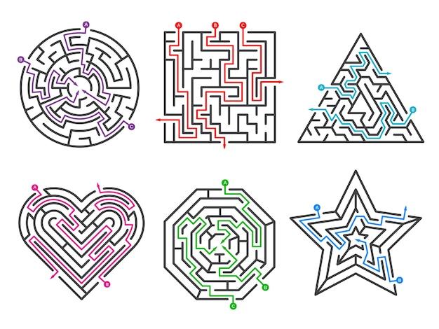 Labirynt gier. kolekcje labirynt o różnych kształtach z wieloma zestawami bram wjazdowych. złożoność gry labirynt, wyzwanie puzzle labirynt ilustracja