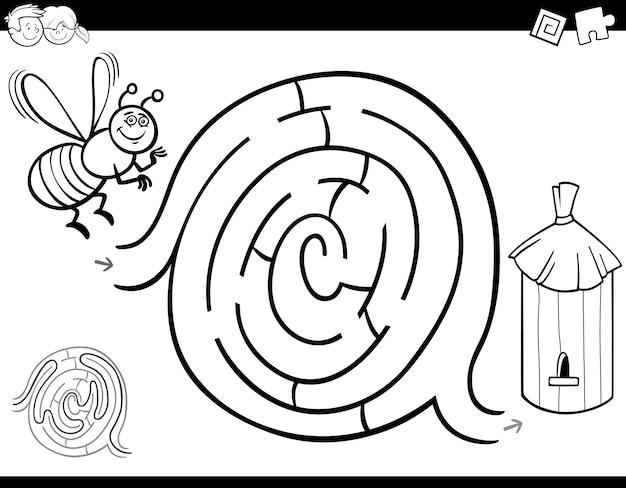 Labirynt gra kolorowanka z pszczół i ula
