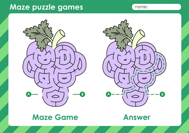 Labirynt gra logiczna aktywność dla dzieci z owocami i warzywami z winogron